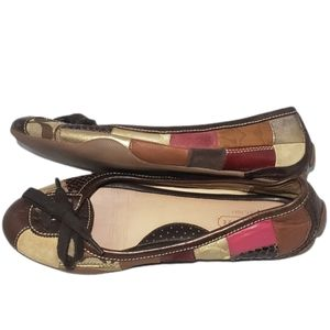 "Coach ""Jasmine"" Patchwork Neutral Round Toe Monogrammed Flats Size 7.5"